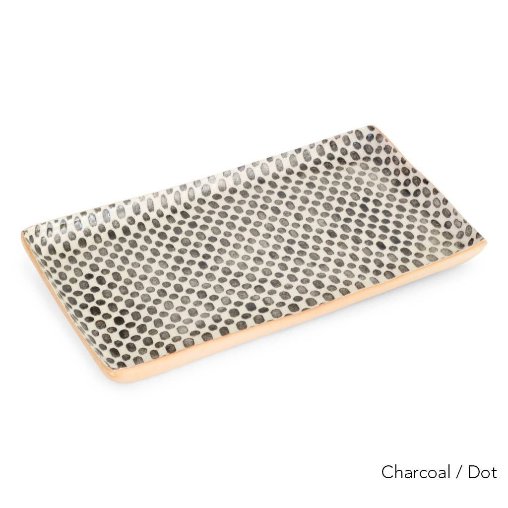 Terrafirma Ceramics Large Stacking Rectangular Tray (Charcoal/Dot)