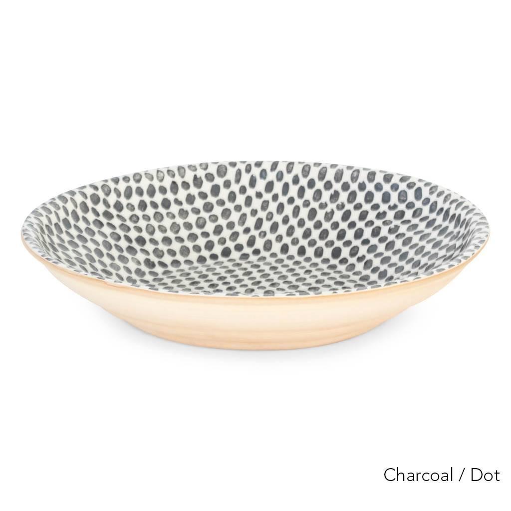 """Terrafirma Ceramics 16"""" Centerpiece Bowl - Charcoal/Dot"""