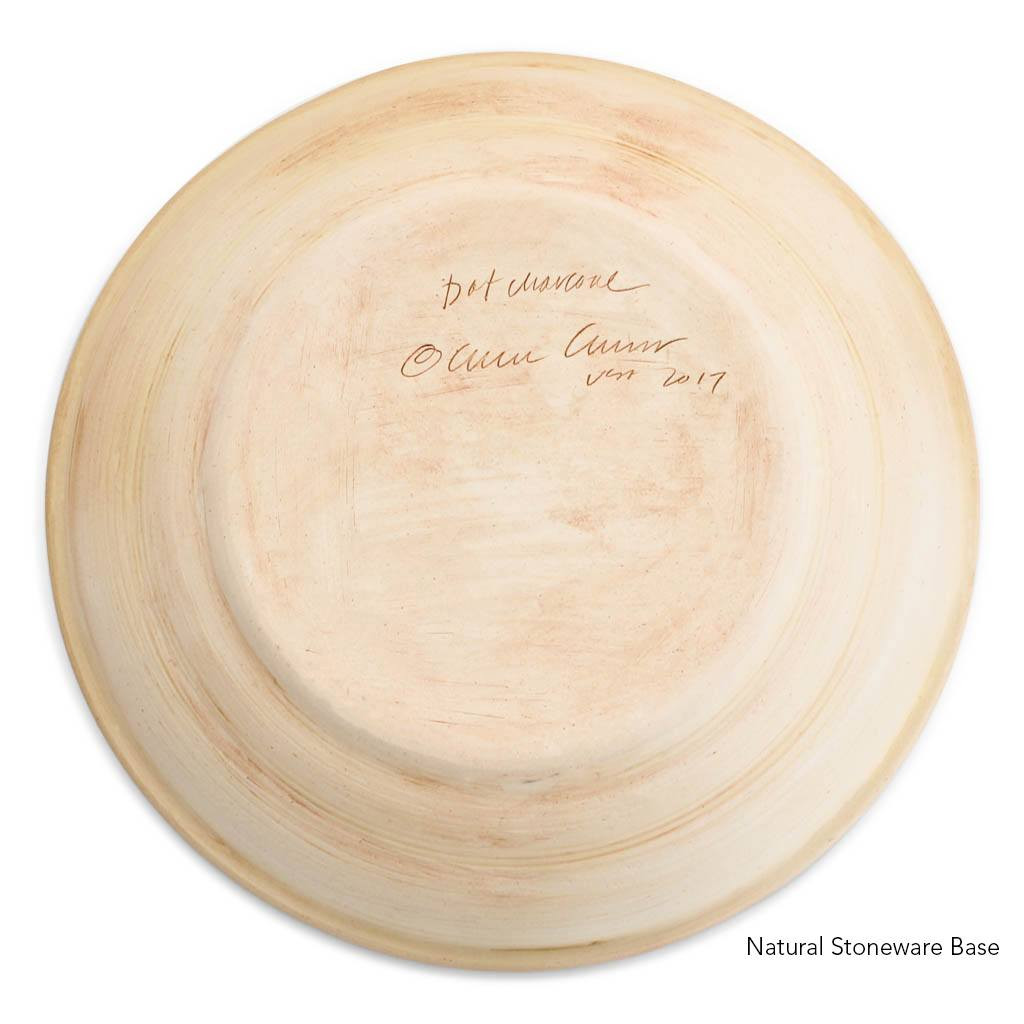 "Terrafirma Ceramics 16"" Centerpiece Bowl - Charcoal/Dot - Natural Stoneware Base"