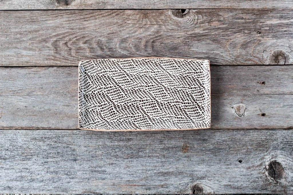 Terrafirma Ceramics - Small Stacking Rectangular Tray (Chestnut/Braid)