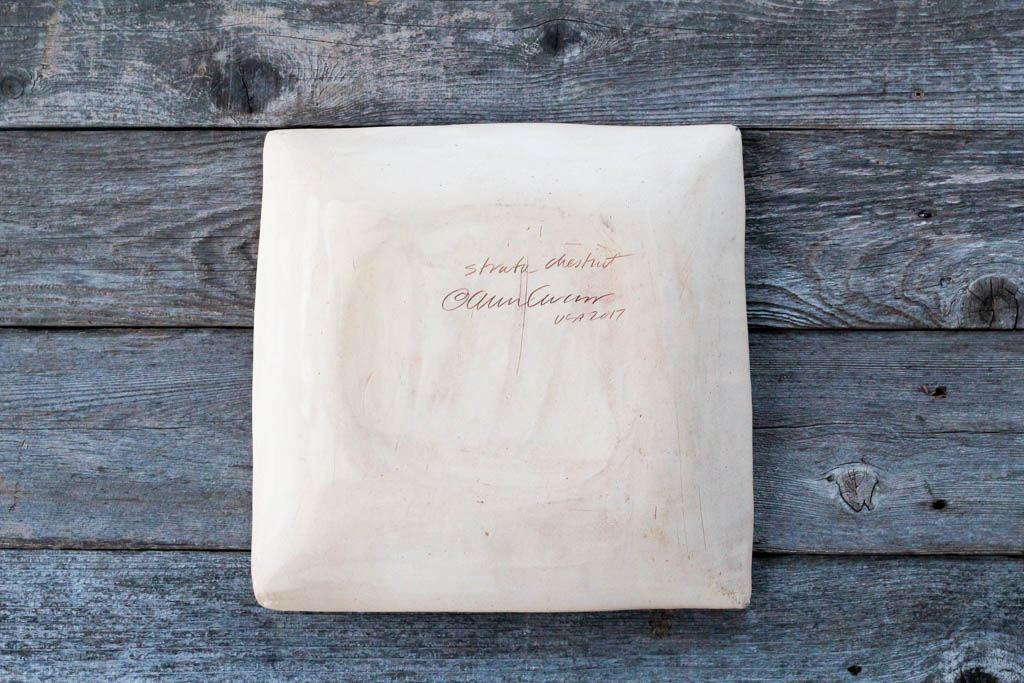 "Natural Stoneware base of Terrafirma Ceramics 13"" Square Tray (Chestnut/Strata)"