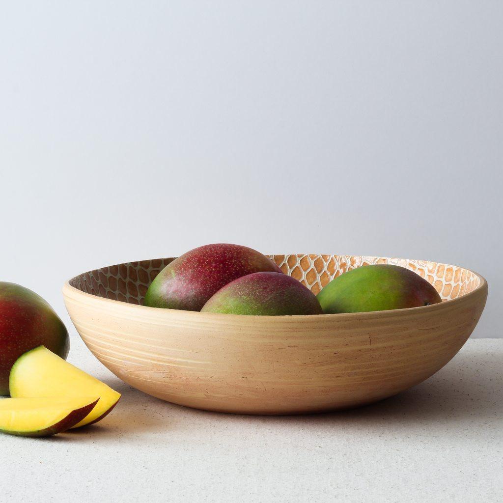 Terrafirma Ceramics Medium Serving Bowl (Apricot/Taj) with mangos