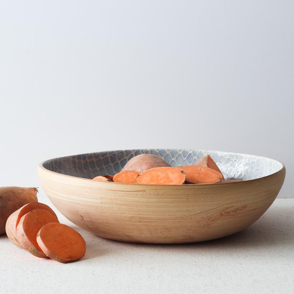 Terrafirma Ceramics Medium Serving Bowl (Opal/Taj) with sweet potatoes