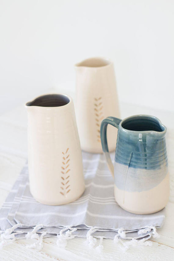 Ceramic Gold Accent Pitchers and Dipped Pitcher by Lafayette Avenue Ceramics