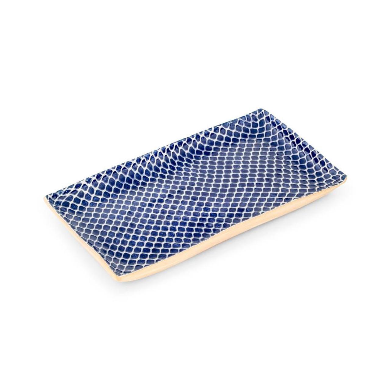 Terrafirma Ceramics - Handmade Ceramic Stacking Serving Platter Taj Cobalt (Medium)