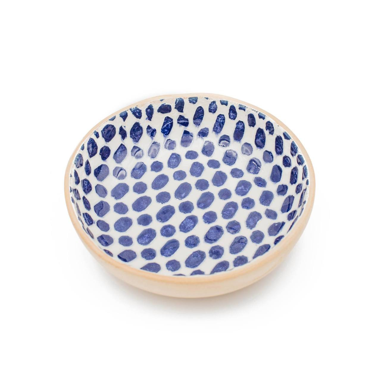 Terrafirma Ceramics - Handmade Ceramic Fruit Dessert Bowl - Pattern: Dot, Color: Cobalt by Ellen Evans (white background)