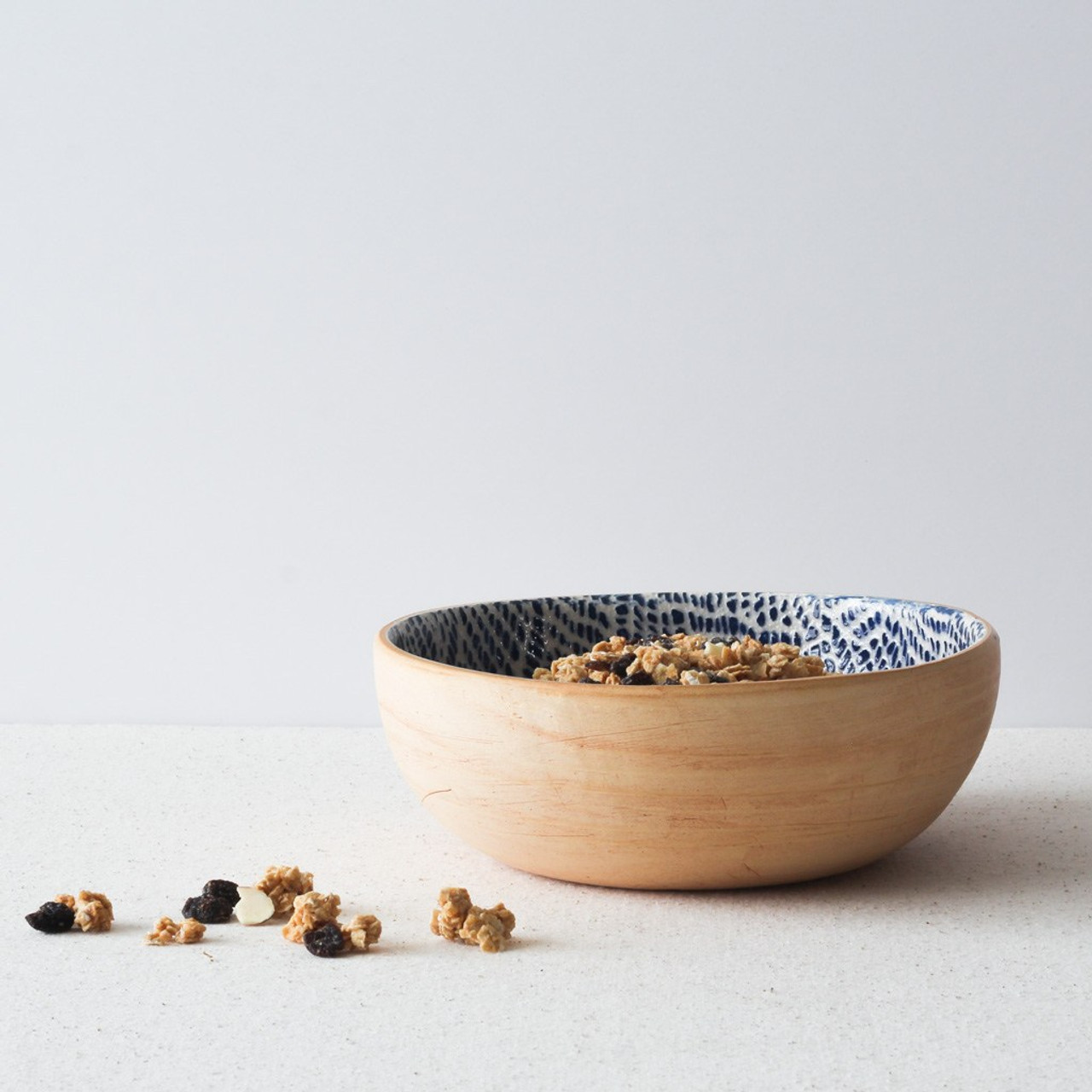 Terrafirma Ceramics Small Coupe Bowl (Cobalt/Taj) with Granola