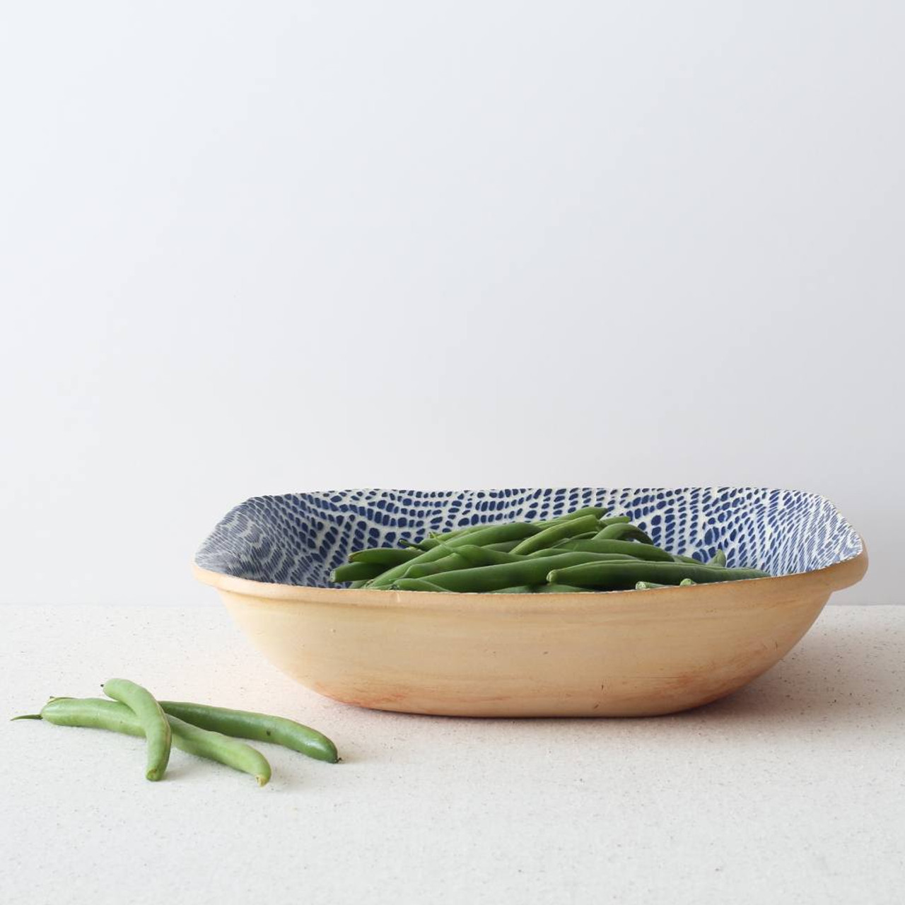 Terrafirma Ceramics - Square Bowl (Cobalt/Braid) with green beans