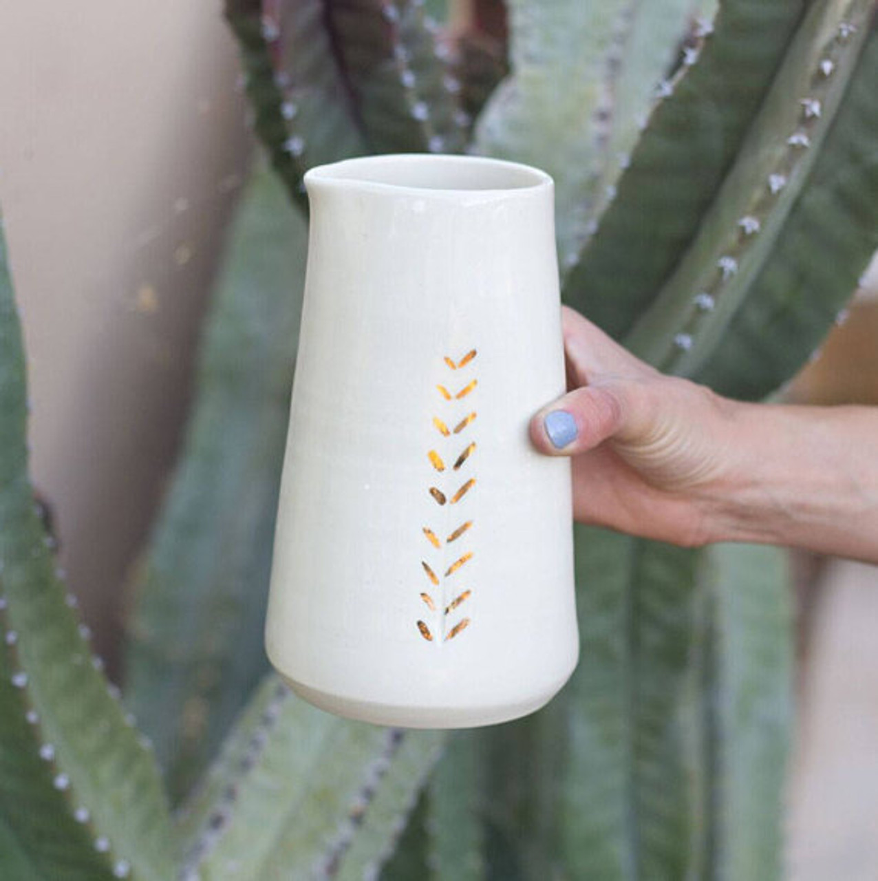 Ceramic Gold Accent Pitcher by Lafayette Avenue Ceramics