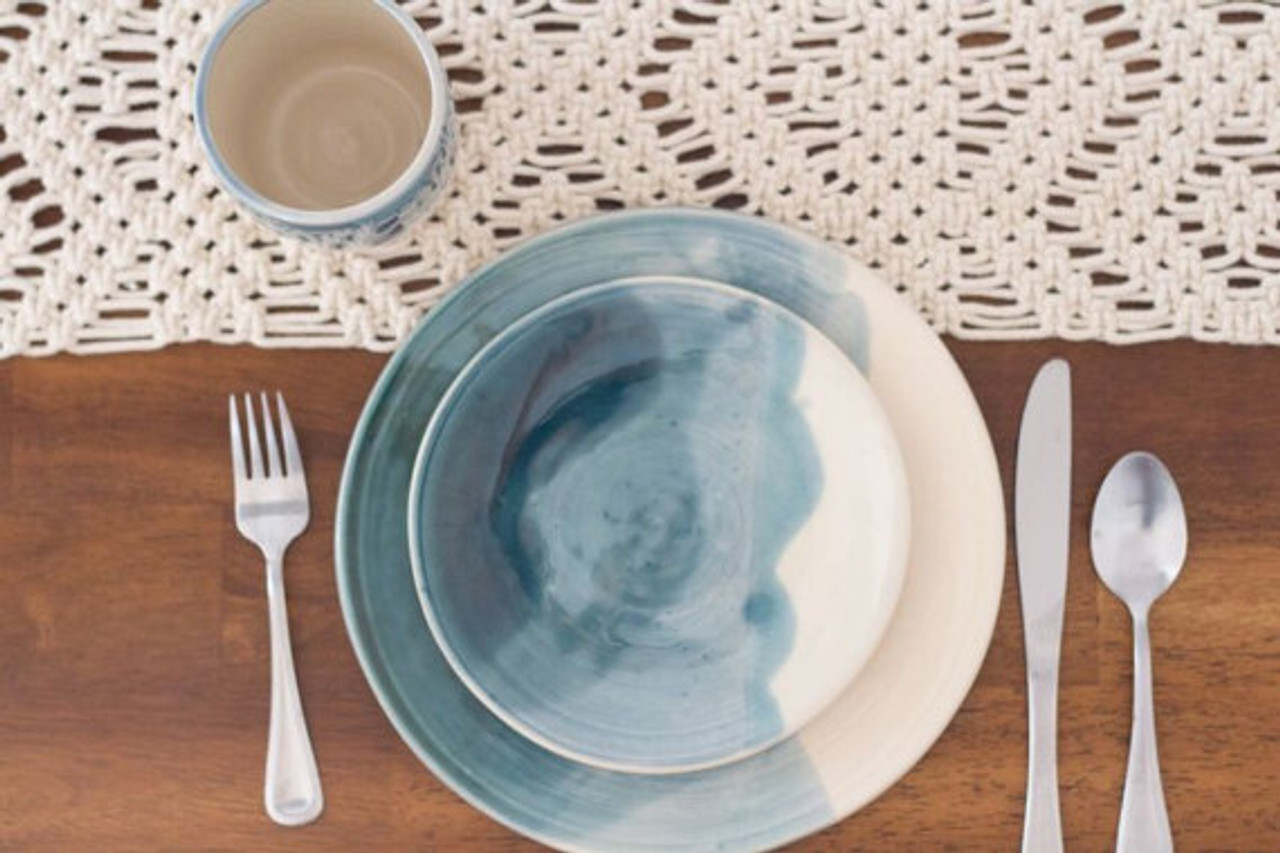 Ceramic Dinner and Salad Plate by Lafayette Avenue Ceramics (Tide)