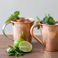 Hammered Copper Moscow Mule Mugs by Sertodo Copper (Stainless Steel and Copper Handle - 18 ounce)