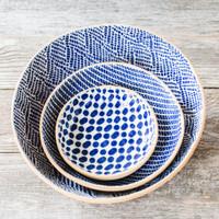 Terrafirma Ceramics Collection- Handmade Ceramic Bowls - Medium Serving Bowl (12 inch) -Braid, 8 inch bowl - Strata, Fruit Dessert Bowl - Dot - Color: Cobalt by Ellen Evans