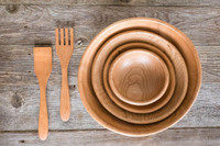 """Handmade Wooden Salad Bowl Set - Large 15"""", Medium 12"""", Chef's 9"""", Small 7"""" with Salad Server Set by Rockledge Farm Woodworks"""