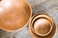 """Handmade Wooden Salad Bowl Set - Large 15"""", Medium 12"""", Chef's 9"""", Small 7"""" by Rockledge Farm Woodworks"""