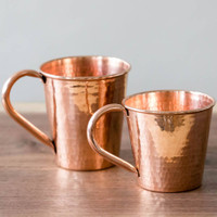 Hammered Copper Moscow Mule Mugs by Sertodo Copper (Copper Handle - 18 ounce and 12 ounce)