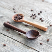 Hand Carved Walnut Coffee Scoop by Four Leaf Wood Shop