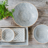 Terrafirma Ceramics Collection- Handmade Ceramic Serving Bowls and Platters - Color: Charcoal by Ellen Evans