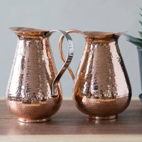 Hammered Copper Pitchers by Sertodo Copper (Bisotun Pitcher - Copper Handle and Stainless Steel Handle - 76 ounce)