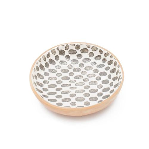 Terrafirma Ceramics - Handmade Ceramic Serving Bowl (Medium - 12 inch) - Pattern: Dot, Color: Charcoal by Ellen Evans (white background)