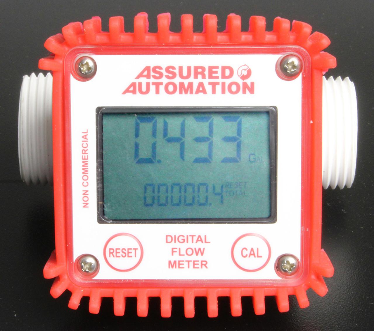 Digital Water Meter : Digital fluid flow meter with resettable totals and