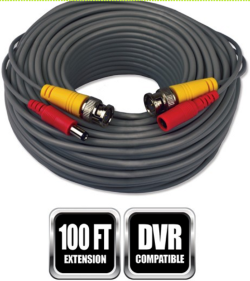 Night Owl CAB-FT4-100VP; 100 ft. BNC Video/Power Camera Extension Cable with Adapter