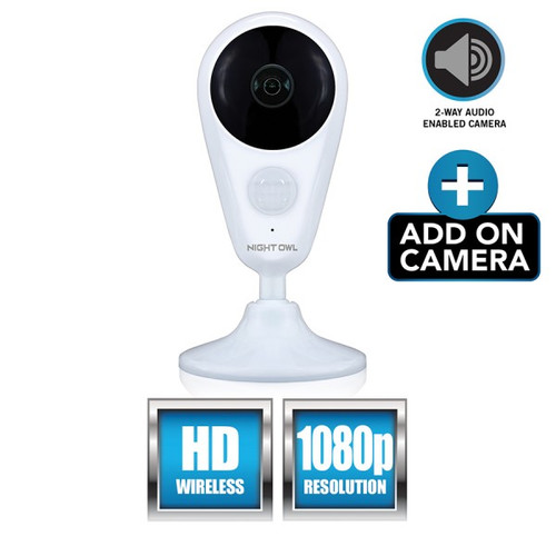 Night Owl CAM-WNVR2P-IN Add-on Indoor Wireless 1080p AC Powered Camera - White