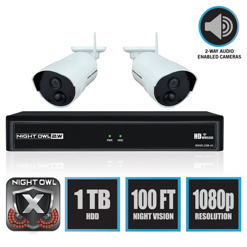 Night Owl WM-WNVR-421 4 Channel 1080p Wireless Smart Security Hub with 2 x 1080p Infrared IP Cameras and 1 TB HDD