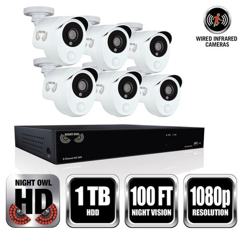 Night Owl WM-HD2-861P 8 Channel 1080p HD Video Security DVR with 1 TB HDD and 6 x 1080p Wired Infrared Cameras