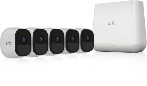 Arlo Pro VMS4530-100NAR Security System with Siren, 5 Rechargeable Wire-Free HD Cameras with Audio, Indoor/Outdoor, Night Vision and works with Alexa - Certified Refurbished