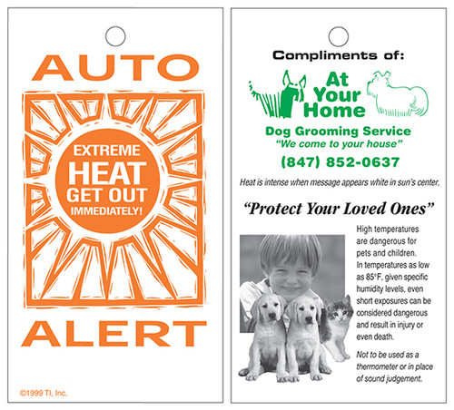 Custom Printed Auto Alert Car Thermometer Safety Card - Reusable