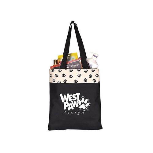 Custom Printed Paw Print Tote Bag - Large