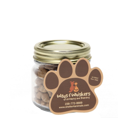 Cat Treats in Half Pint Jar with Custom Paw Shaped Magnet