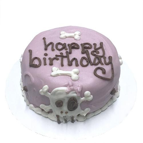 Customized Pink Skull Birthday Cakes for Dogs - Organic