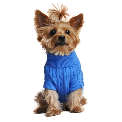Combed Cotton Cable Knit Sweater for Dogs, Riverside Blue