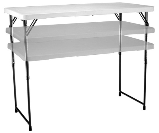 4u0027 Bi Fold Adjustable Height Display Table   Carry Handle