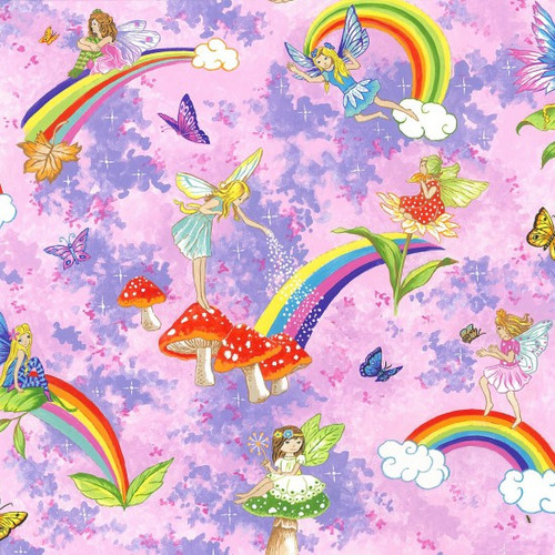 Fairies & Rainbows Pink 100% Cotton (Fairies & Rainbows - Pink)