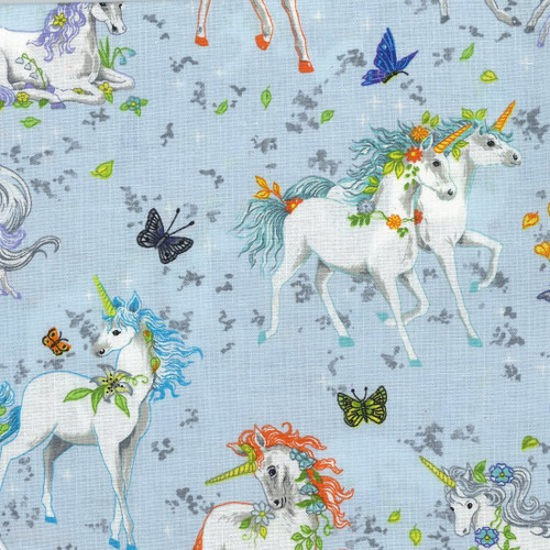Unicorn & Butterfly Blue Grey 100% Cotton  (Wild Unicorns - Blue)