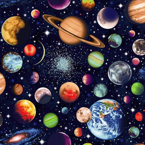 Solar System Scattered Planets Navy 100% Cotton  Wide (Solar System 1)