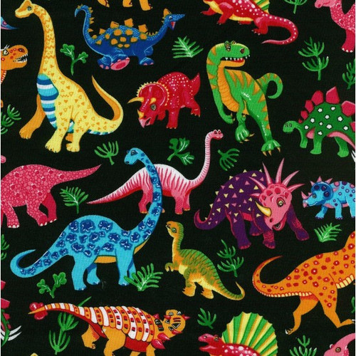 Black & Multicoloured Dinosaurs 100% Cotton  112cm Wide (Dancing Dinosaurs - Black)