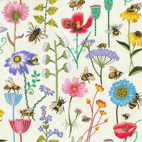 Bee & Floral Cream 100% Cotton  112cm Wide (Bee Meadow)