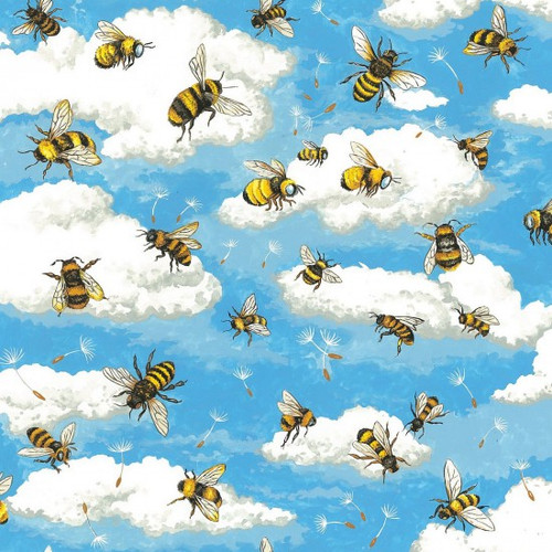Bee, Sky & Clouds Blue 100% Cotton  112cm Wide (Bee Haven)