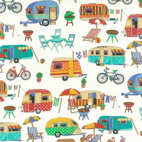 Cream & Multicoloured Retro Camper Van 100% Cotton  112cm Wide (Retro Camping)