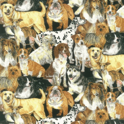 Various Breeds Of Dogs Black & Multi Colour 100% Cotton  112cm Wide (Doggie Delight)