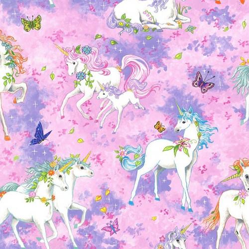 Unicorn & Butterfly Pink 100% Cotton 112cm Wide (Wild Unicorns - Pink)