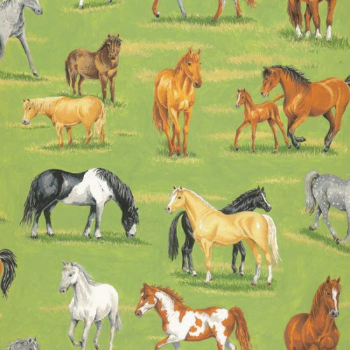 Countryside Horse Scene 100% Cotton 112cm Wide (In The Country - Horses)