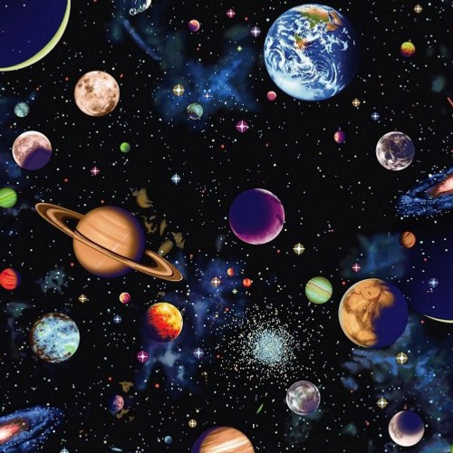 Solar System Large Planets Black 100% Cotton  Wide (Solar System 2)