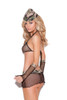 Major Hottie - Fence net bra top, skirt with attached g-string, gloves and hat.