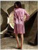 Robe Two Pieces Silk Satin Lace Lingerie Set Bathrobe