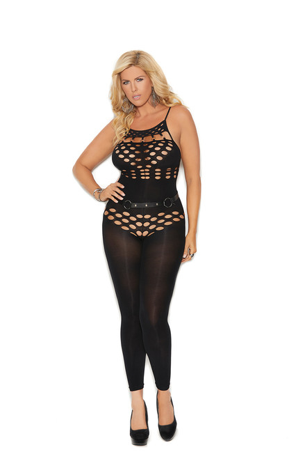 Opaque halter neck footless bodystocking with cut out detailing.