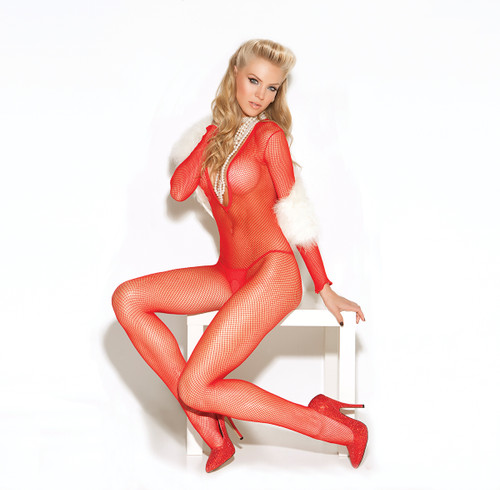 Long sleeve deep V fishnet bodystocking with open crotch.